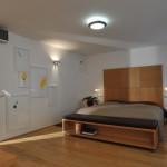 Postel v manželské ložnici byla vyrobena podle návrhu architektek Studia Gens.