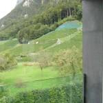 Všechna okna byla od počátku plánována tak, aby z nich byl krásný výhled. Pohled ze společenské galerie na vrcholky švýcarských alp a přilehlých vinic, nechybí jednoduché skleněné zábradlí z kaleného skla.