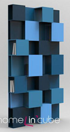 Knihovna Pixly v odstínech modré