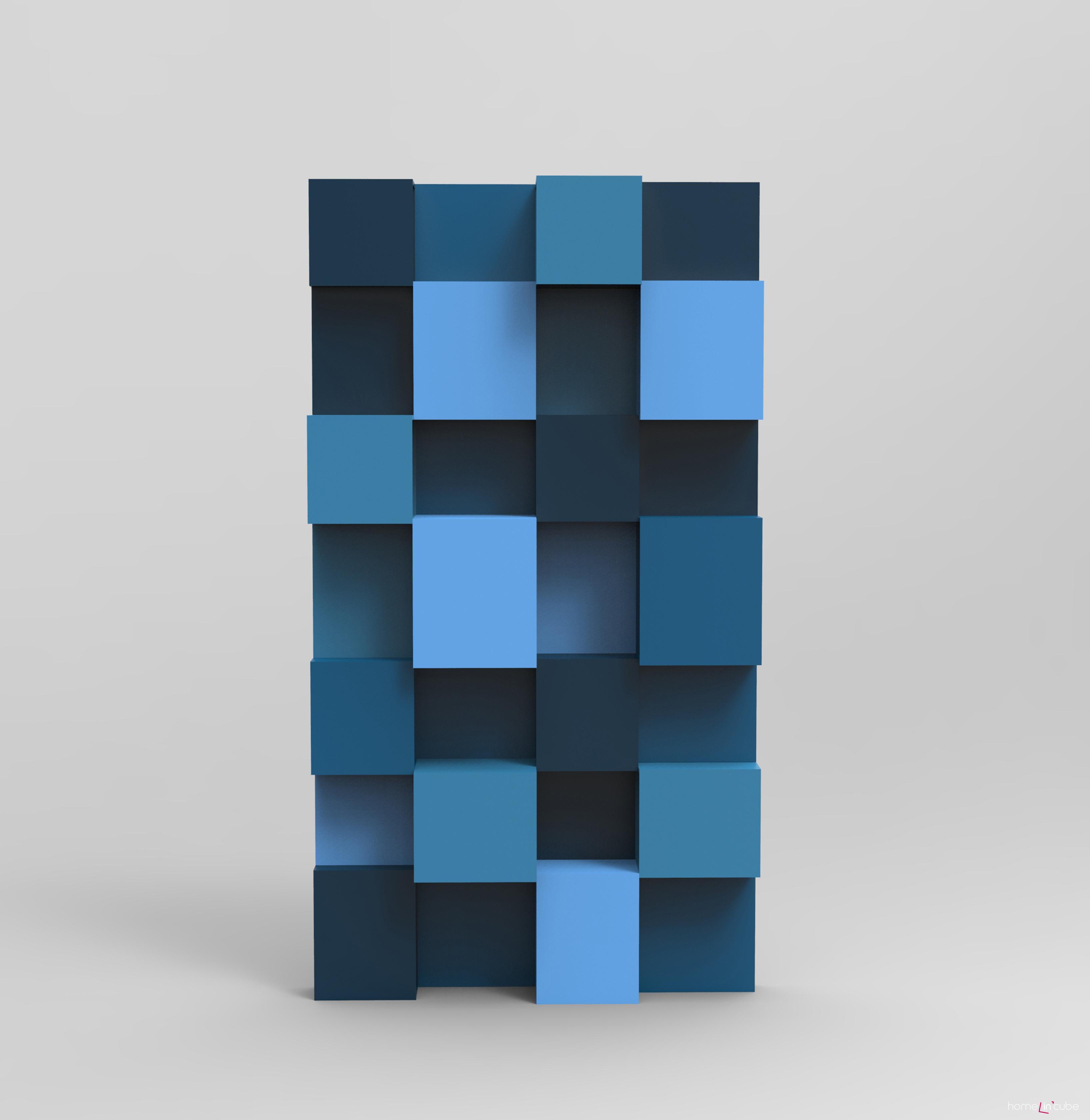 Atraktivní knihovna Pixly v modré barvě se hodí do moderního interiéru
