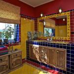 Jak je dnes obvyklé, v rodičovské koupelně jsou dvě umyvadla. Velké zrcadlo lemují obklady s ještěrkou, které se ve španělštině říká la lagartija (čti lagartycha).