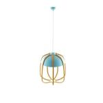 Stropní závěsné svítidlo Tulle lamp s modrým stínítkem doplněným proutěnými pruty