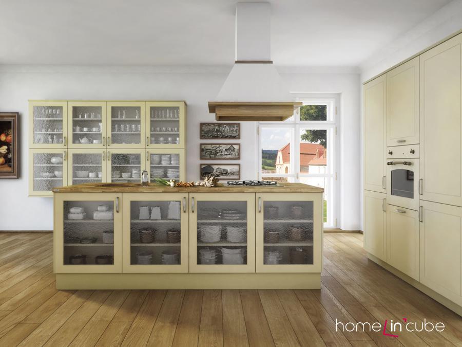 V citlivém pojetí s využitím vanilkového odstínu a s čistě provedenou frézovanou linkou je vyrobená dekorativní a velmi útulná kuchyň Romantiqua značky Dolti.