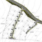 Výřez výkresu regulačního plánu části obce s vyznačením regulace