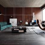 Kožená pohovka byla především v 90. letech synonymem luxusu a elegance. V současných interiérech se objevuje spíše na menších kouscích nábytku. Fargo, vyrábí BoConcept.