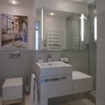 Ve všech koupelnách jsou použity skleněné obklady.