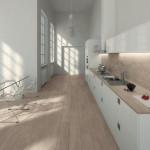 Světlé odstíny dlažby a ještě světlejší barva mobiliáře dokáží rozsvětlit malý prostor. Slinutá dlažba, kolekce Allways (Mirage), Kozak Bath & Interior.