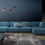 Střídmost a jednoduchost tvarů sedací soupravy dává punc elegance celému vnitřnímu prostoru. Sestava Rio (Calia Italia), prodává Centrum Hanák.