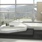 Masážní vana Aura Corner Corian (Jacuzzi), kombinace akrylát/corian, elektronická baterie, rozměr 160 x 160 cm, Kozak Bath & Interior