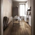 Do kuchyně je užití dlažby účelné a zároveň estetické. Slinutá dlažba Travel (Supergres), formát prken 30 × 120 cm, kazety 60 × 60 cm, M. B. KERAMIKA