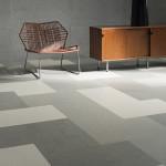Vzor podlahy Marmoleum z modulů 75 x 50 cm v neutrálních barevných tónech .