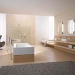 Účelnost, čistota tvarů, jednoduchá barevnost, kvalita materiálů, zaručují harmonii prostoru. Koncept E2 firmy Kludi.
