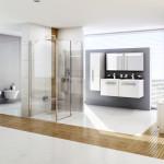 V Ravaku zabydleli střed místnosti sprchovým koutem. Světlé odstíny jsou oživeny dlažbou a obkladem imitující dřevo. Koupelnový koncept Chrome.