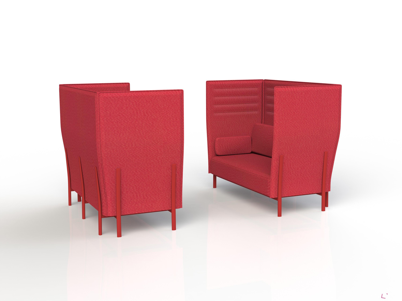 Sezení Eleven (design Pearson Lloyd), Alias. Sedací prvky mají kvůli zajištění intimity vysoké boční i zadní opěry.