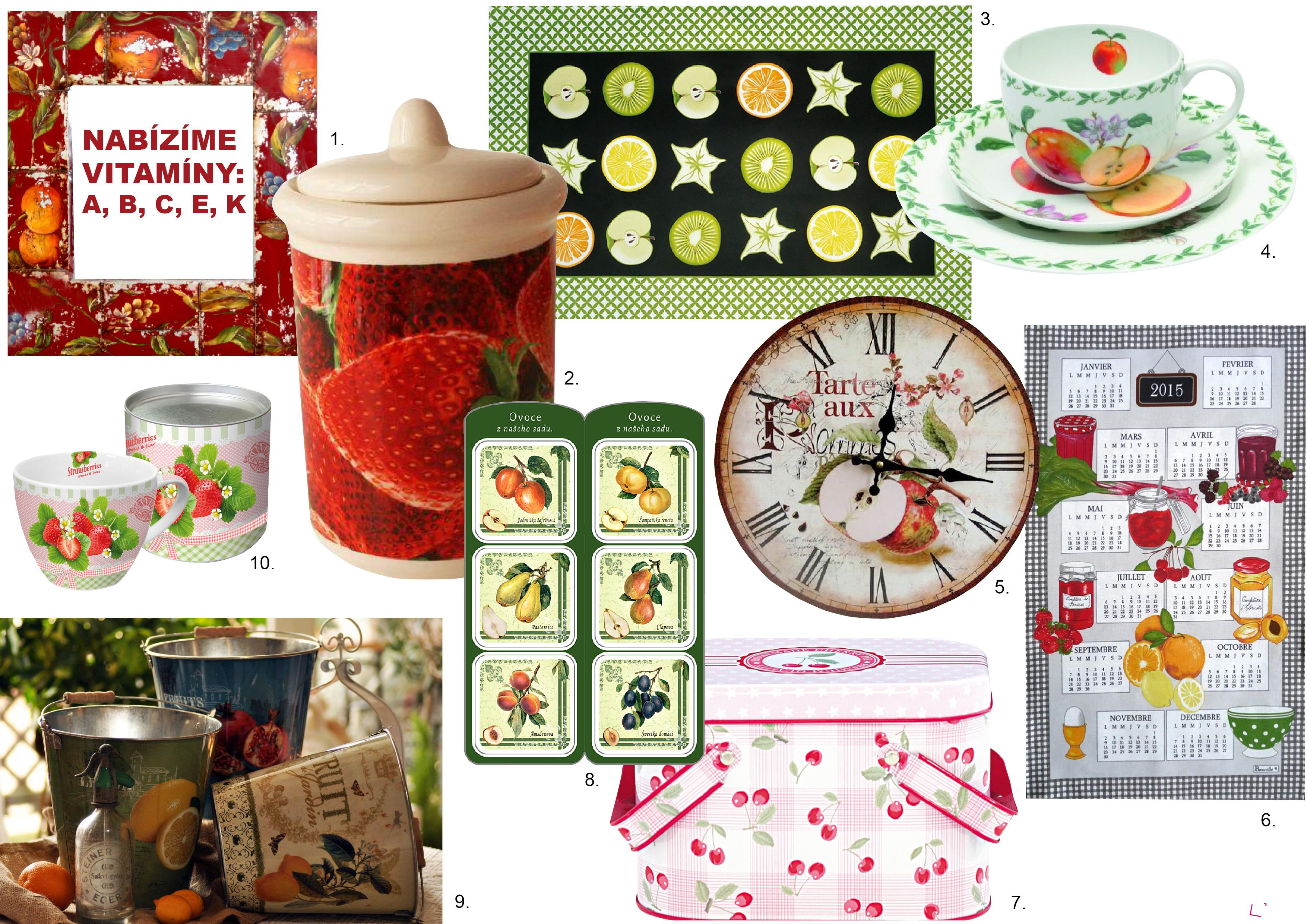 Obrázky ovoce na nádobí a ostatních předmětech v domácnosti evokují chuťové buňky.