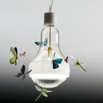 Závěsné svítidlo J. B. Schmetterling. Žárovka (průměr 20 cm) je ozdobena motýly a vážkami. Délka závěsu 170 cm.