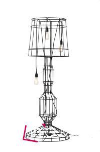 Stojací lampa (design Matteo Ugolini) s kovovou konstrukcí na kterou se každý může rozhodnout, kolik zavěsí kabelů se žárovkou. Výška 168 cm, průměr 63 cm. Karman.