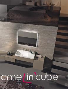 Efektní řešení najdeme v mezonetových bytech, kde můžeme z koupelny do ložnice vyjít rovnou do ložnice. Umyvadlo s nábytkem je z kolekce Xeno2 (design Robin Platt) firmy Keramag.