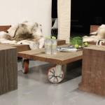K nábytku z hrubého dřeva patří i pravé kožešiny.