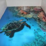 3D podlaha s podmořským životem se hodí třeba i do koupelny.