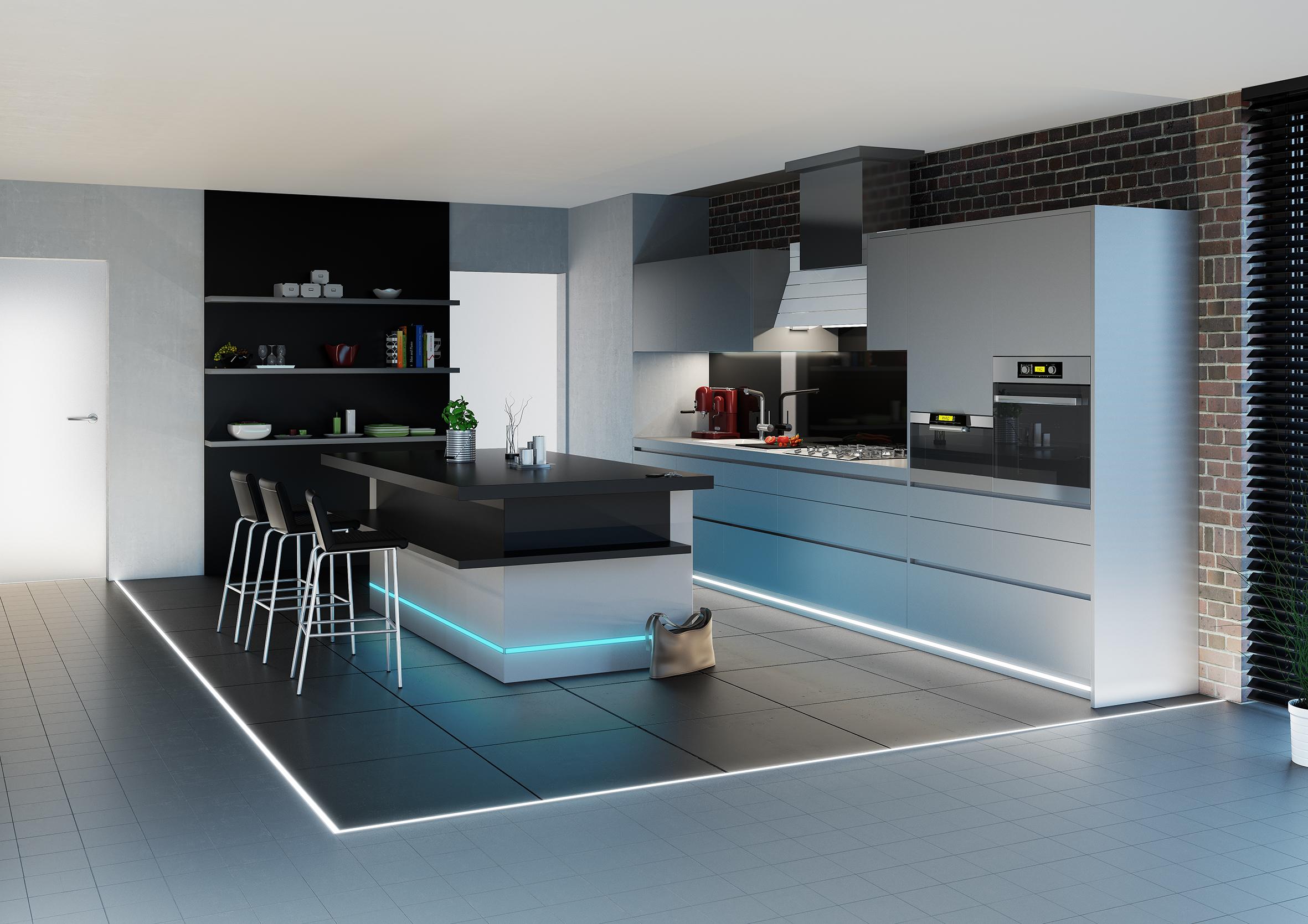 Ledkové osvětlení integrované do soklu kuchyně a varného ostrůvku. Aulix