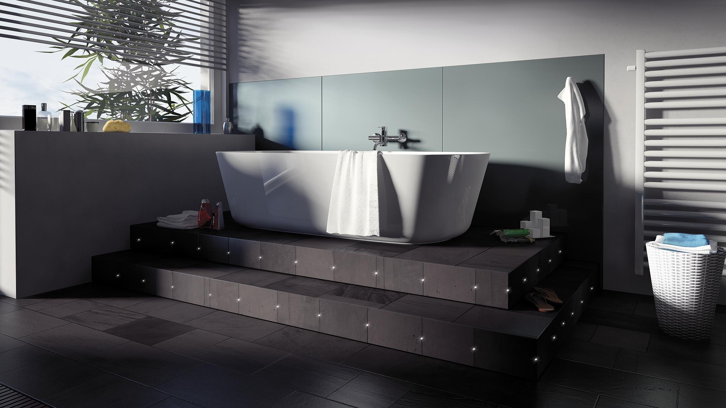 Ledky zdobí schody k vaně. Aulix.