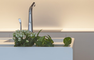 Zcela beze spár můžete spojit corian, takže mezi obložení a pracovní desku nemůže zatéct voda. Kuchyně Le Bon.