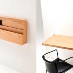 Praktický stolek, který je možné sklopit na zeď. Získáme tak úložný prvek.