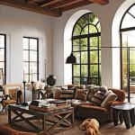 Těžký nábytek sluší rozlehlým prostorám. Ideální jsou i vysoké stropy.