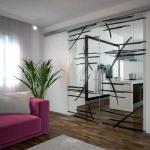 Dvoukřídlé posuvné dveře s grafickým motivem. J. A. P.