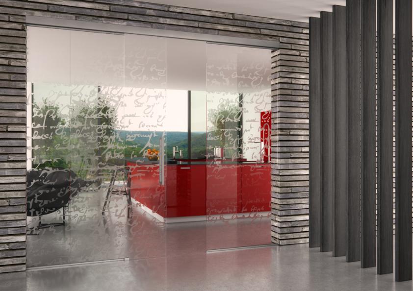 Fixní skleněná stěna s jednokřídlým posuvem. J. A. P.
