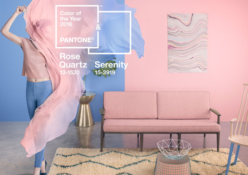 Pantone odstíny pro rok 2016. Rose quartz a serenity