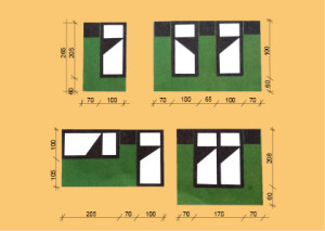 Rozměry při různých standardních rozmístění lůžka v ložnici
