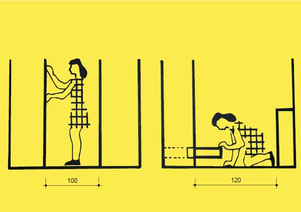 Mezi skříní a stěnou je zapotřebí 100 cm. Je-li ve skříni zásuvka a naproti komoda budeme potřebovat 120 cm.