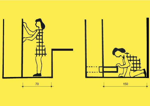 Mezi skříní a komodou je zapotřebí 70 cm. Pokud máme ve spodní části zásuvku a naproti stěnu, pak potřebujeme 150 cm.