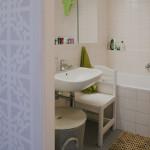 Koupelna je zařízena velmi jednoduše a prakticky.