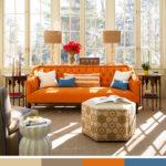 Béžové odstíny prozářené oranžovou a modrou. Pestrá kombinace, která se ale rychle neomrzí.