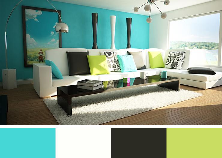 Tato kombinace barev vnáší do interiéru svěžest a pocit blízkosti moře.