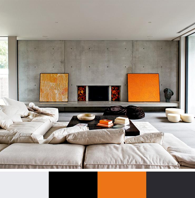 Oranžová je příjemná a vnáší teplý pocit. Proto se hodí do moderních interiérů, kde se používá beton.