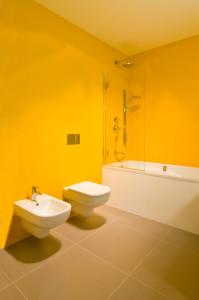 Zvolené barvy koupelen výstavní prostor oživují a ukazují návštěvníkům možnosti kombinací výrobků s různými povrchovými úpravami podlah a stěn.