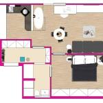 V dispozici bytu se s vanou nepočítalo, architekti ji proto umístili přímo do obývacího prostoru