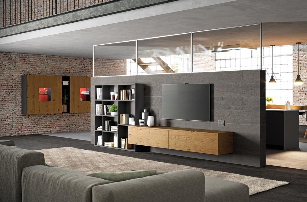 Kuchyň může být oddělena a přitom propojena s obývacím pokojem pomocí polopříčky. Biefbi