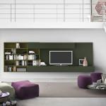 Stále jsou v kurzu stěny připevněné ke zdi, které poskytují místo pro umístění televize, knih a dekorací. Pianca