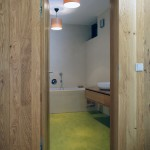Koupelnový prostor je rozjasněn zeleným marmoleem.