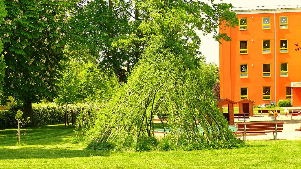 Obrostlé vrbové teepee.