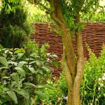 Proutěný plot příjemně koresponduje s celou zahradou.