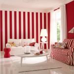 Červená barva je sama o sobě dominantní. V kombinaci s pruhy už do místnosti nedávejte žádnou další barvu. Nechte ho bílý.