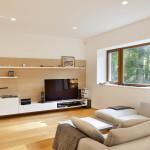 Velkorysý prostor dovolil použít dvě sezení. Toto je v rohu místnosti a je určeno pro sledování oblíbených filmů.
