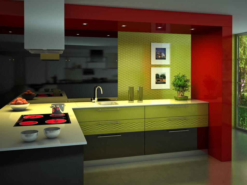 Stejné sklo můžete použít i na dalších částech interiéru. Třeba u kuchyňských dvířek.