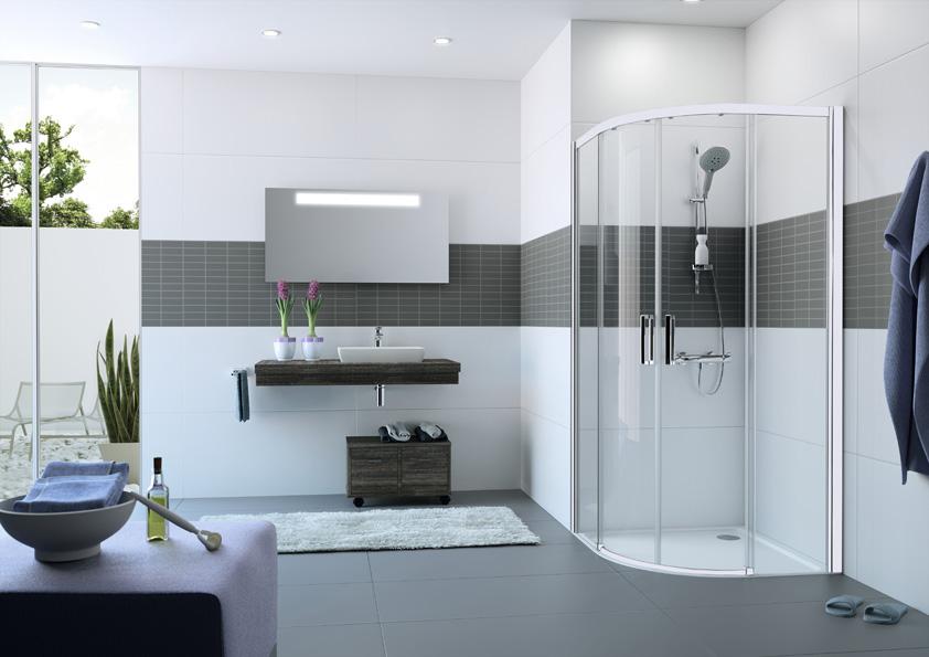 Čtvrtkruhové posuvné dveře s bílým elegantním rámem. Madlo a prahová lišta vždy v barvě stříbrná lesklá, možnost montáže bez prahové lišty. K dodání v symetrických i asymetrických rozměrech.